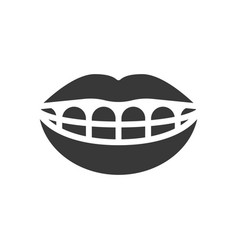mouth and teeth smile with braces dental related vector image