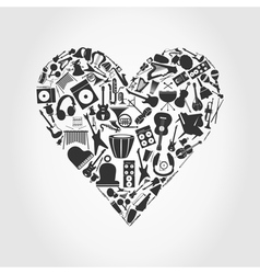 Music mosaic heart vector