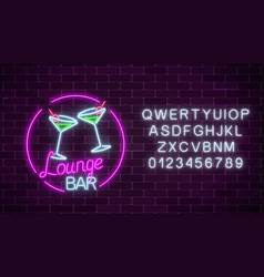 Neon cocktails lounge bar sign with alphabet vector