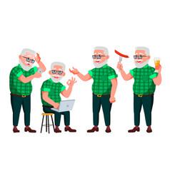 Old man poses set elderly people senior vector
