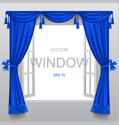 open white double window with classic blue blinds vector image