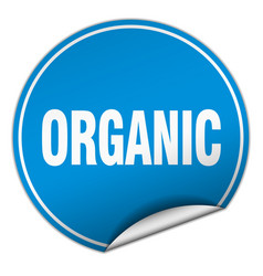 Organic round blue sticker isolated on white vector