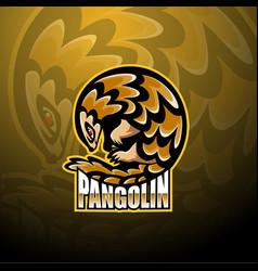 Pangolin esport mascot logo design vector