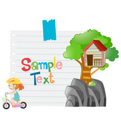 paper template with girl riding bike vector image