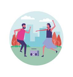 people dancing outdoors vector image