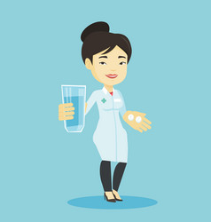 pharmacist giving pills and glass of water vector image