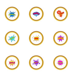 pop art bubble icons set cartoon style vector image