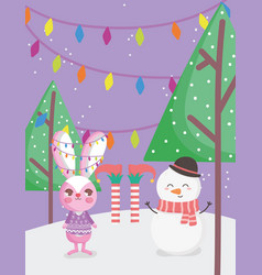Rabbit snowman and elf legs snow trees merry vector