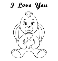 Rabbit with Heart Contour vector