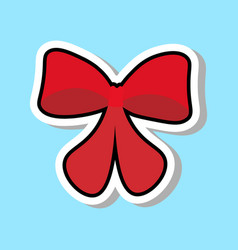 red ribbon bow icon isolated over blue background vector image