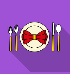 restaurant table flatting icon in flat style vector image