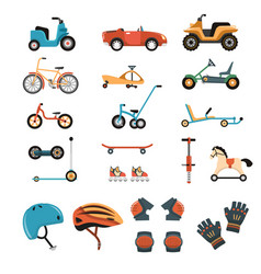ride-on toys elements collection vector image