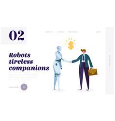 Robot tireless companion landing page machine vector