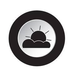 round black white button - weather partly cloudy vector image