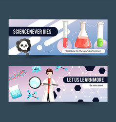 Science banner design with man magnifying glass vector