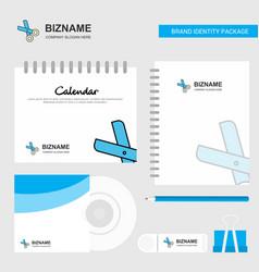 scissor logo calendar template cd cover diary and vector image