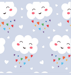 seamless pattern funny kawaii cloud on rainbow vector image
