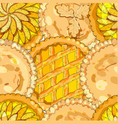 Seamless pattern with apple pies the theme of vector