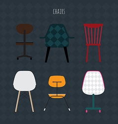 Set of colorful chairs flat vector image