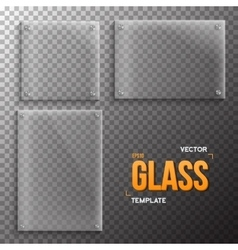 Set realistic glass frame template vector
