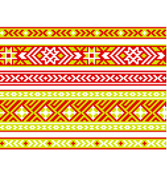 Set ribbons with baltic seamless ornament vector