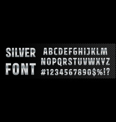 silver font numbers and letters alphabet vector image