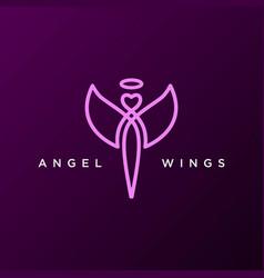 simple minimalist angel fly wings line outline vector image
