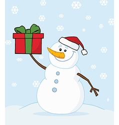 Snowman Holding A Christmas Present In The Snow vector image