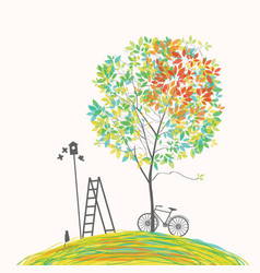 spring landscape with tree bike and birdhouse vector image