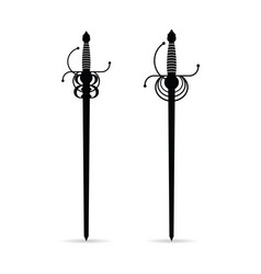 Sword ancient set in black color vector