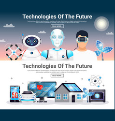 Technologies of future horizontal banners vector