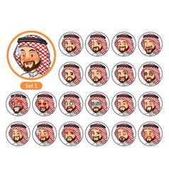 the first set of saudi arab man cartoon character vector image