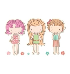 Three girls little funny isolated cartoon vector