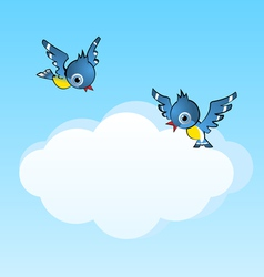 two birds and copy space cloud vector image