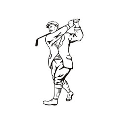 Vintage golfer with golf club golfing or teeing vector