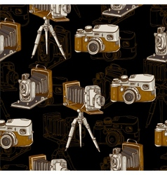 Vintage seamless background with retro camera vector