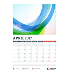 Wall Calendar Planner Template for 2017 Year April vector
