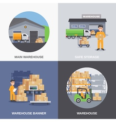 warehouse 2x2 flat design concept vector image