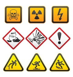 Warning symbols hazard signsfirst set vector