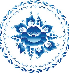 White and blue ornament flowers traditional vector