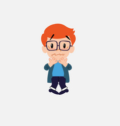 White boy with glasses shrugged in fear vector