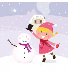 winter girl making snowman vector image