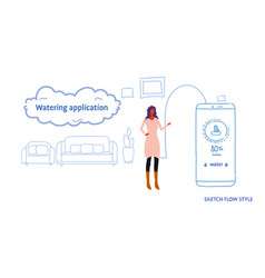 woman using mobile watering application smart vector image