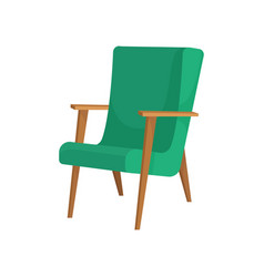 Wooden armchair with green upholstery soft vector