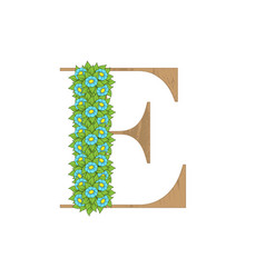 wooden leaves letter e vector image
