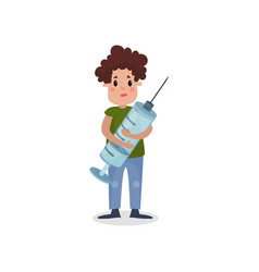 young man holding giant syringe harmful habit and vector image