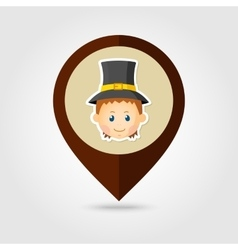 American Pilgrim children mapping pin icon vector image vector image