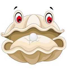 cute Oyster with a pearl cartoon for you design vector image