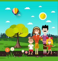 family in city park vector image
