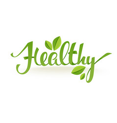 healthy and organic green glossy leaves and vector image vector image